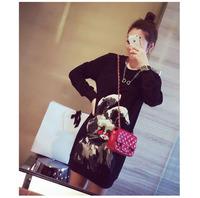 Autumn New Sweatshirt 2014 Women Korean Joker Ink Rabbit Printing Loose O-Neck Pullover Fashion Hoodies Dress WE1060