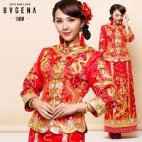 ON Sale Promotion Dragon bride gown china style formal dress marriage wedding cheongsam traditional bride formal  cheongsam hot