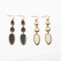 2014 White Black Leaves Drop Earring Party Earring Women Earring Trendy Jewelry Free Shipping (Min $20 can mix)