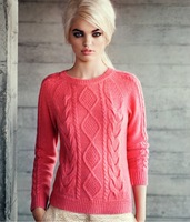 2014 new European women's wholesale rhombic pattern solid color sweaters women pullovers woman dress