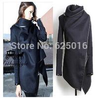 2014 hot Women Zipper PU Warm Long Coat Jacket Trench Windbreaker Parka Outwear Fashion Womens Slim WOOL Warm Long Coat Jacket