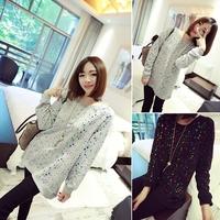 2014 New Colorful Paint Polka Dot Printed Pullover Women Fashion Long Sleeve Autumn Sweatshirt WE1061