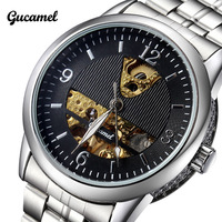 2014 New Semi-automatic Mechanical Hand Wind Dress watches Luxury Brand Men Wristwatches Full Stainless Steel Waterproof Relojes