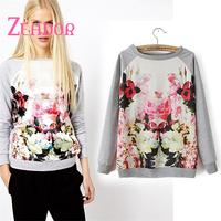 Top Fashion 2014 Women Autumn Blouse Long Sleeve Floral Print Chiffon Blouse Brand Fashion Casual Blouse Desigual Shirts