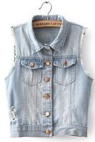 new arrival women fashion windproof jeans vest  retail demin clothes plus size XXL always fashion sleeveless
