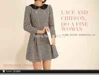 Winter new Korean long-sleeved woolen dress doll collar England Houndstooth wool winter