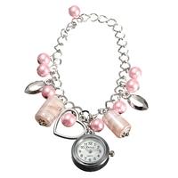 Women Beads Heart Shape Chain Bracelet Quartz Analogue Wrist Watch
