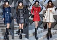 2014 Casual Slim Real Fur Collar Long White Duck Down Jacket Women Hoody winter Jacket parka womens Jackets Free shipping B2302