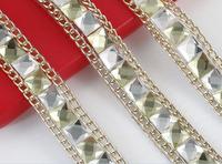 1 Yard Metal Chain&Square Gemstone Crystal Ribbon Trim Sewing Craft E272