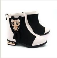 Kid fashion boots leather & stretch fabric girl caterpillar little bear rhinestone children shoes land zip soft sole KLL030