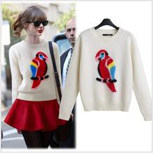 Barato!!! 2014 nuevo otoño invierno la mujer suéter patrón loro hermoso cuello redondo jersey de punto de moda femenina envío gratis(China (Mainland))