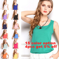 2014 New Fashion Summer Women Clothes Sleeveless Chiffon Blouse Solid Candy Color Causal Blouse Shirt Women Top