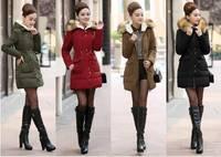2014 Casual Slim Faux Fur Collar Long White Duck Down Jacket Women Hoody winter Jacket parka womens Jackets Free shipping B2324