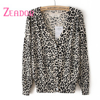 2014 Autumn Winter Women's Brand Cardigan High Quality Sexy Leopard  Casual Cardigans  Femininas