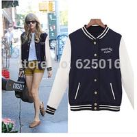 Free Shipping 2014 New Fashion Women Sweatshirts Baseball Uniform Ladies Cardigan Jacket Coat Quality Cotton Letterman women