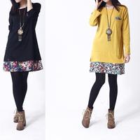 2014 fashion Korea style elegant floral print women dress charming patchwork winter autumn dress comfortable loose casual dress