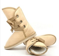 New Winter Snow Boot Women Man-made Fur Buckle Motorcycle Ankle Boots Shoes 2014 New CHIC! W2057