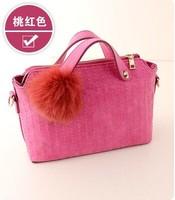 Free shipping 2014  new winter fashion fur ball handbags shoulder bag handbag tide matte Spiraea handbags wholesale