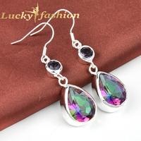 New Arrival Classic Design Jewelry Mystic Rainbow Topaz Earring For Lady Wedding Drop Earrings