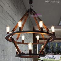 Free Shipping Classical Industrial Style Metal+Resin Castle Pendant Light Vintage Edison bulb Hemp rope Suspension Lamp E27*12