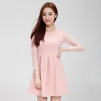 2014 new female Office ladies fashion casual long sleeve dress slim fit mesh dress female vestidos 3Color S/M/L/XL 9999