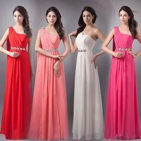 2014 New Wedding Evening Elegant Single shoulder Women Long Dresses Pure Greek style Red ladies dress
