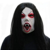 Halloween Masquerade Party Props Horrific Black Hair Fine Eyebrow Witch Latex Full Head Mask