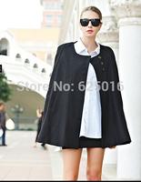 FREE SHIPPING 2014 HOT Women Fashion Black Batwing Cape Wool Jacket Winter Warm Cloak Coat  Winter Woolen Coat Womens Overcoat