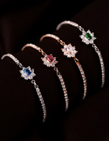 2014 Korean Version Of The Multi-colored Exquisite Rose Gold Bracelet For Women Really Platinum Inlay Zircon
