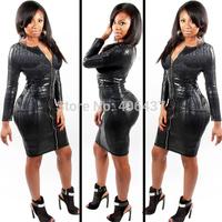 Women Sexy Black Faux Leather Bodycon Bandage Dress Ladies Fashion Clubwear Zipper Up S M L 2014 High Quality Free Shipping