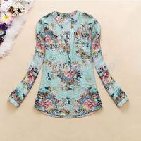 New 2014 spring v-neck chiffon blouse women's long sleeve flower printed Casual shirt clothing blusas femininas free shipping