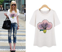 2014 summer new star of the same paragraph patterned short-sleeved T shirt bottoming SK065031