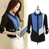 Special offer Plus Size Thin Women Korean Long Sleeve loose Block Color Chiffon Blouse Popular Shirt L,XL,XXL,XXXL,XXXXL,XXXXXL