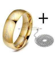 Free Shipping 18K Real Gold Plated Woman Men Rings Stainless Steel Jewelry Free Chains (Size 6,7,8,9,10,11)