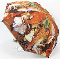 Free shipping matte painting umbrella folded umbrella umbrella handle arch princess