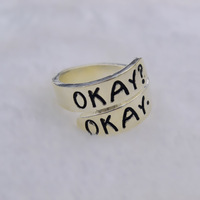 2014 New Movie Jewelry The Fault in Our Stars Rings Romantic Ring Silver color okay rings metal rings Retail&Wholesale
