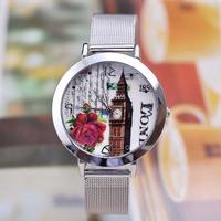 XMAS Big Bargain!! New Fashion Women Flower Clock Print Full Stainless Steel Dress Bracelet Watch Gift Watch