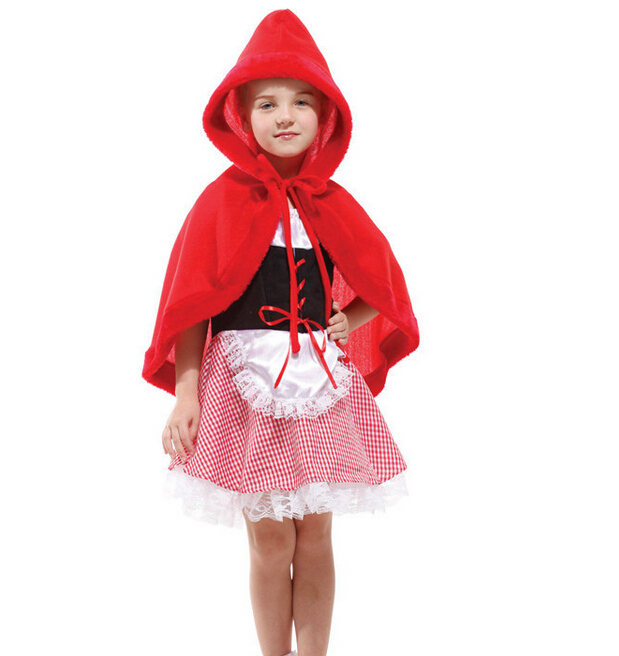 Red riding hood costume halloween little girl cosplay costume for kids