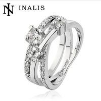 New Arrival Elegant 18K Rose Gold /Platinum Plated Wedding Ring Shining Cubic Zirconia Austrian Crystal Jewelry Wholesale