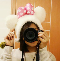 Super cute soft winter plush Mickey/Minnie mouse style cap, plush pink bowknot dot hat,Christmas&birthday gift for girls, 1pc