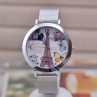 XMAS Big Bargain!! New Fashion Women LOVE YOU Eiffel Tower Butterfly Print Full Stainless Steel Dress Sliver Bracelet Gift Watch