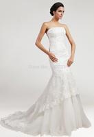 2015  Tulle Applique Beading  Mermaid Court Train Gorgeous Luxury Unique Brilliant Bridal Wedding Dress size 2 4 6 8 10 12 14 16