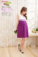 2014 Summer Striped Knitted Women Pregnant Dresses Maternity Elegant Stitching Skirt Dress Purple