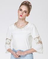 European Blusas Femininas Elegant Hollow Out Lace Chiffon Blouse For Women Casual Patchwork Tops New Camisas Plus Size S~5XL