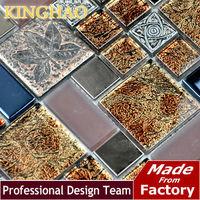 [KINGHAO] Wholesale Glass mosaic tile Stainless Steel Mosaic Tiles Bathroom Mosaic Tile Kitchen Backsplash KF4809