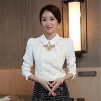 2014 Hitz Korean Slim shirt temperament sweet flower Duolei Si stitching shirt