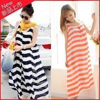 2014 Summer Striped Casual Women Pregnant Dresses Maternity Elegant Stitching Skirt Dress Orange