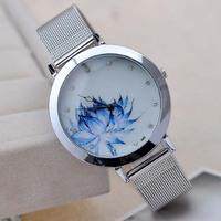 XMAS Big Bargain!! New Fashion Women China Wind Blue Flower Print Full Stainless Steel Dress Sliver Bracelet Gift Watch