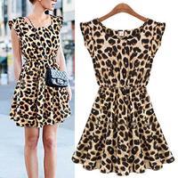 Fashion Womens Summer Casual Pleated Leopard Print Dress Sundress Crew Neck Cap Sleeve Mini Club Dresses Drop Shipping 5585