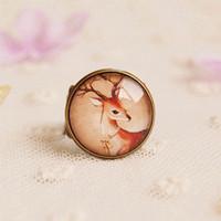 Mori girl style cute deer ring Korean version new  rings large  NS-jz19